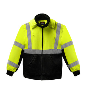 Reflective Apparel Safety Sweatshirt: Hi Vis Full Zip 2-Tone: Removeable Hood: 10.5oz (VEA-602-ST)-2