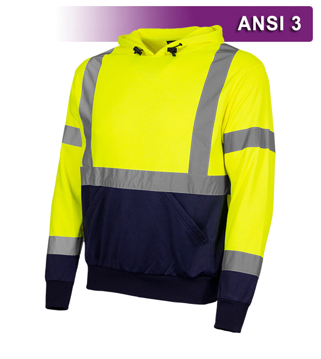 Reflective Apparel Safety Hoodie: Hi Vis 2-Tone Pullover: 7 oz. Lime & Navy (RAF-604-GT)