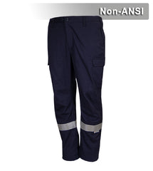 Reflective Apparel Work Safety Pants: Navy 100% Cotton Cargo Pants: Reflective (VEA-720-ST)