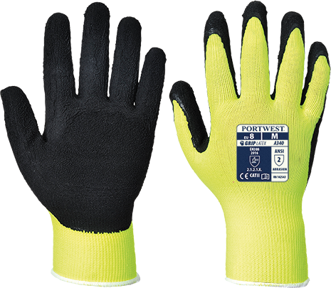 Portwest Hi-Vis Grip Glove - Latex Foam (A340)