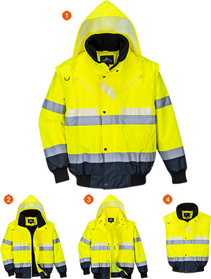 Portwest Glowtex 3-in-1 Bomber Jacket (G465)