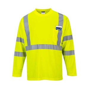 Portwest Hi-Vis Long Sleeve Pocket T-Shirt (S191)