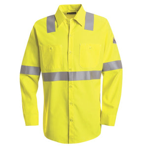 Bulwark Hi-Visibility Flame-Resistant Long Sleeve Work Shirt Cat 2- (SMW4)