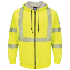 Bulwark Cat 3 Hi-Vis Zip-Front Hooded Fleece Sweatshirt - (SMZ4)