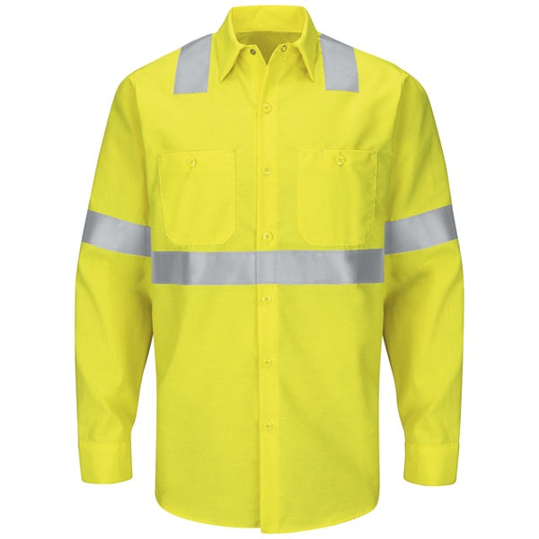 Red Kap Long Sleeve Hi-Visibility Ripstop Work Shirt: Class 2 Level 2 - SY14
