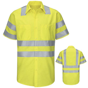 Red Kap Short Sleeve Hi-Visibility Ripstop Work Shirt: Class 3 Level 2 - SY24AB