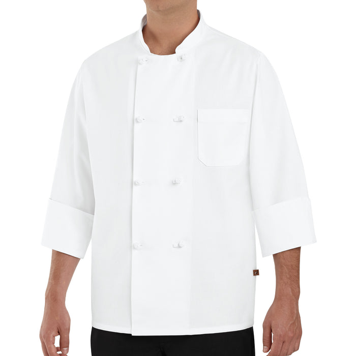 Red Kap Eight Knot-Button Chef Coat - 0411WH