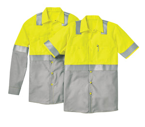 Red Kap Short Sleeve Hi-Visibility Color Block Work Shirt: Class 2 Level 2 - SY24
