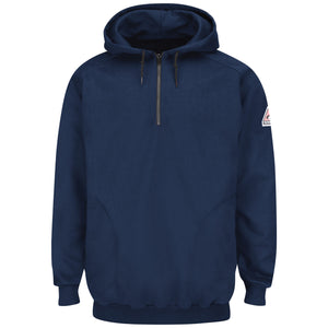 Bulwark Pullover Hooded Fleece Sweatshirt With 1/4 Zip - Cotton/Spandex Blend - Cat 2 - (SEH8NV)