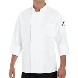 Red Kap Eight Knot-Button Chef Coat - 0414WH