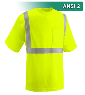 Reflective Apparel Safety Shirt: Hi Vis Pocket Shirt: Birdseye: ANSI 2 (VEA-102-ST)