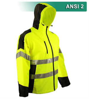 Reflective Apparel Safety Jacket: Hi Vis Hooded Windbreaker: Water Resistant: 2-Tone (VEA-407-GT-LB/VEA-407-ST)