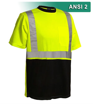 Reflective Apparel Safety Shirt: Hi Vis Pocket Shirt: Two-Tone Birdseye: ANSI 2 (VEA-102-ST-LB)