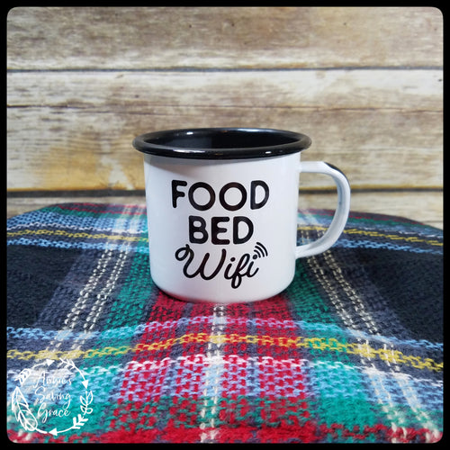 Food Bed Wifi Enamel Mug