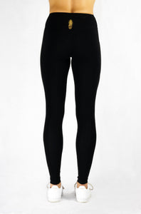 Running Leggings in black with side and pack pocket and natural rubber elastic for optimal hold and stability back view