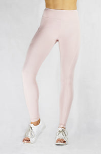 Running Leggings in Blush with side and back pocket and natural rubber elastic front view