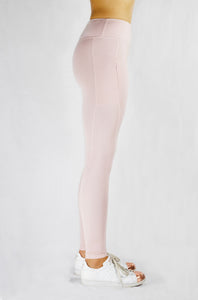 Running Leggings in Blush with side and back pocket and natural rubber elastic side view