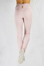Load image into Gallery viewer, Running Leggings in Blush with side and back pocket and natural rubber elastic back view