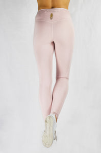 Running Leggings in Blush with side and back pocket and natural rubber elastic back view