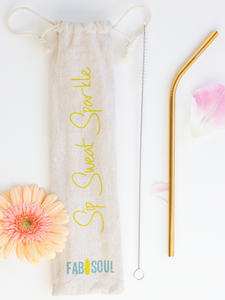 Bend gold reusable stainless steel straw with linen pouch and cleaning brush