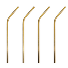Load image into Gallery viewer, Edelstahl Strohhalm 4er Pack Stainless steel straws gold 4 pack