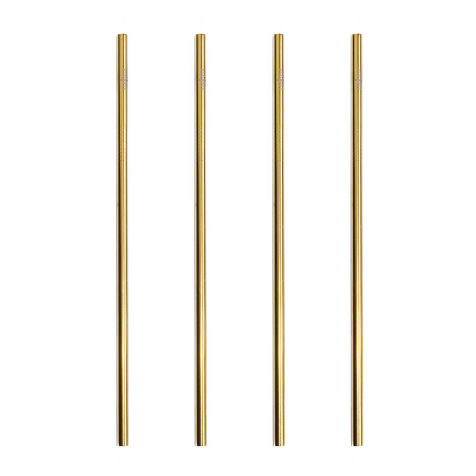Gold Stainless Steel Straw Straight 4 Pack