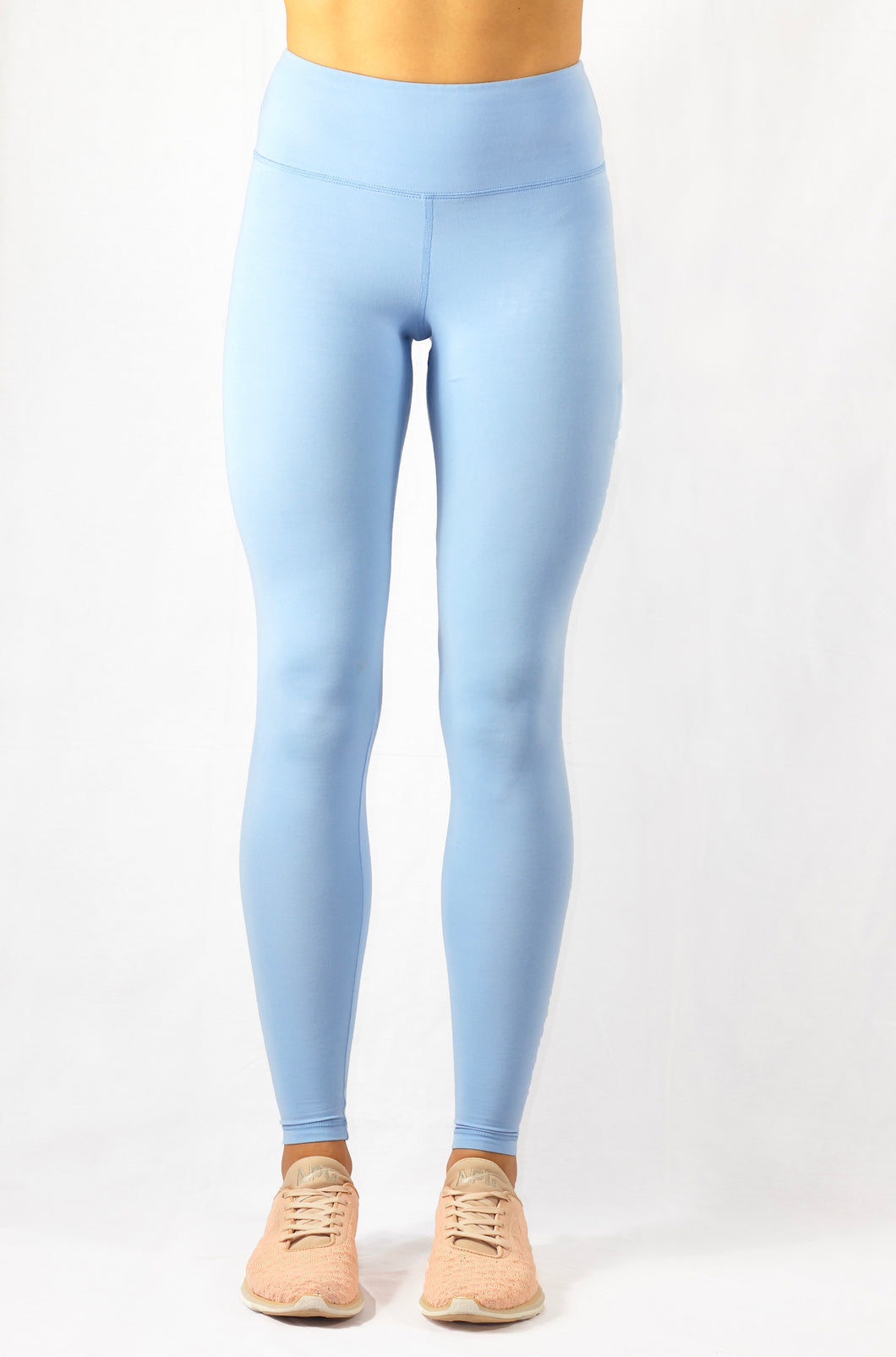 high-rise bright blue natural yoga leggings front view
