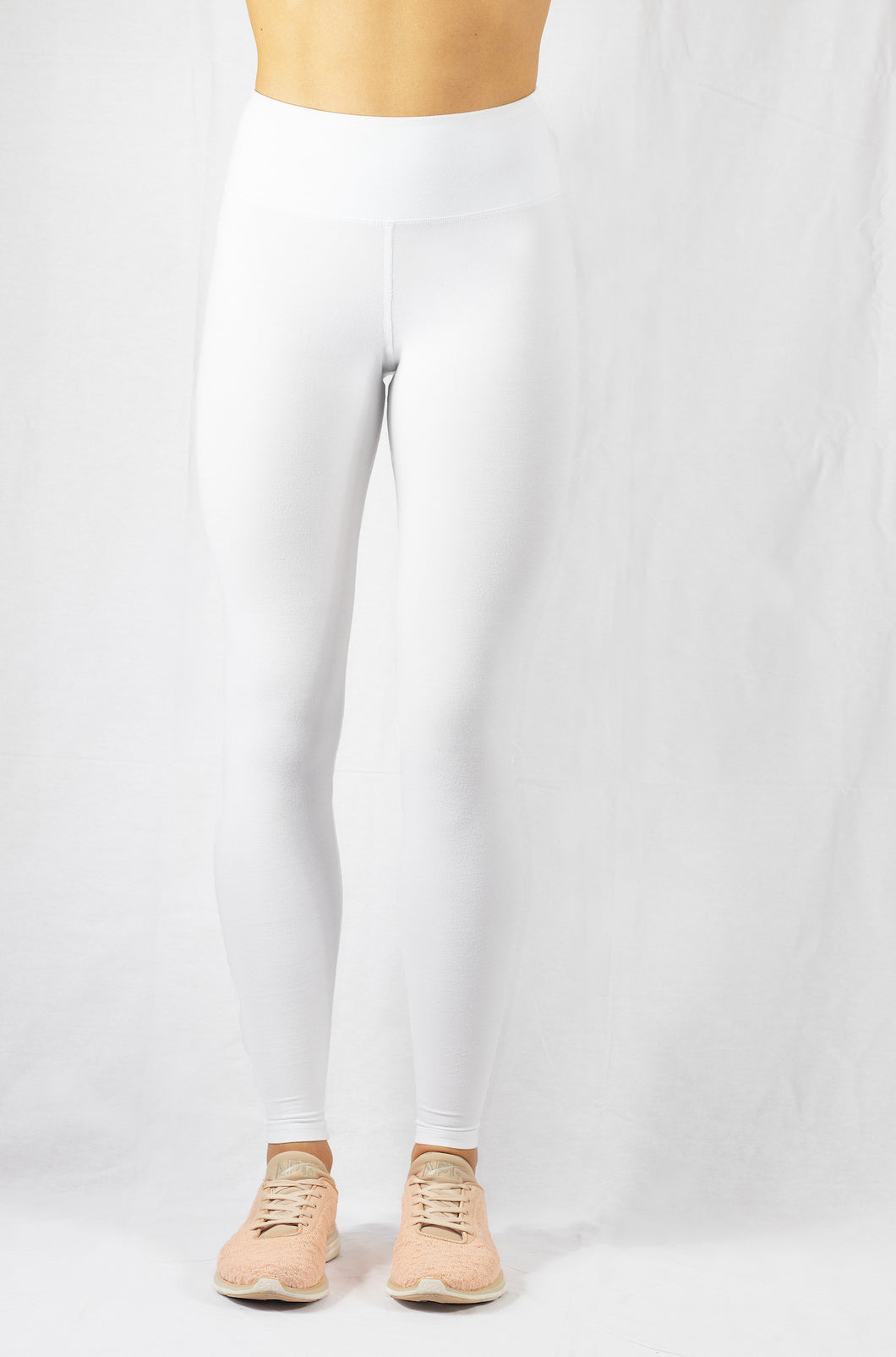 white natural high-rise yoga leggings front view