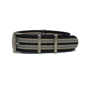 Premium Woven NATO Watch Strap - Black, Grey and Beige