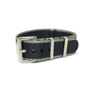 Premium Thick Woven NATO Watch Strap - Black & Grey - Nato Strap Store