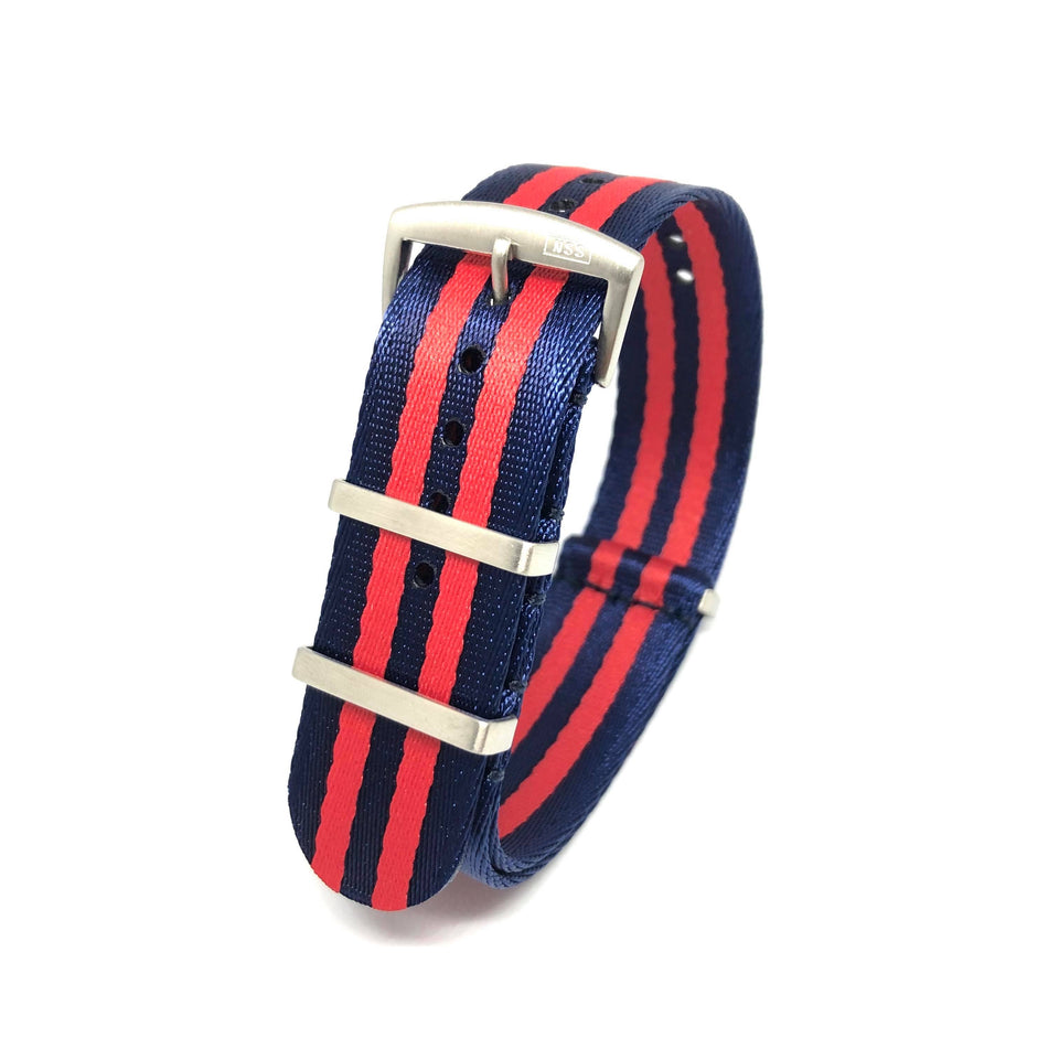 Premium Woven NATO Watch Strap - Navy & Red Stripes - Nato Strap Store