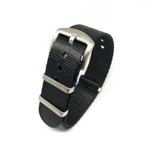 Premium Thick Woven NATO Watch Strap - Pure Black - Nato Strap Store