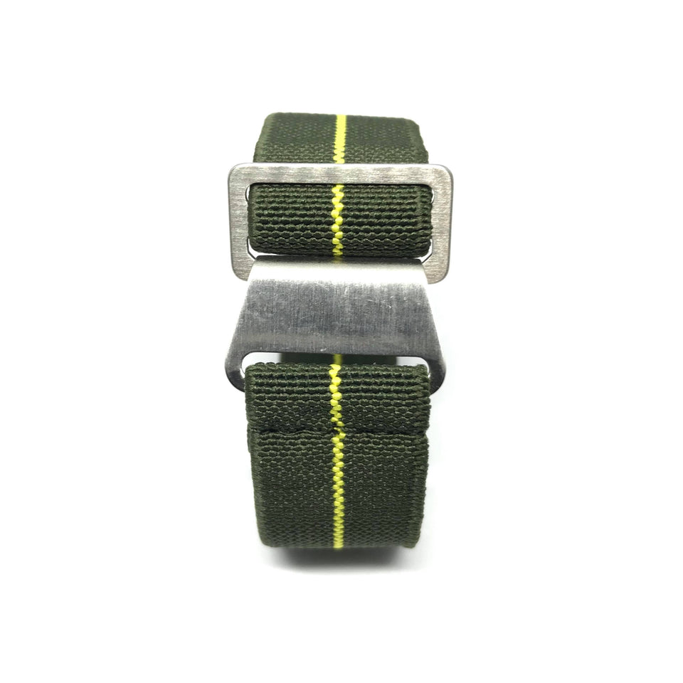 French Style NATO Elastic Strap - Military Green & Yellow - Nato Strap Store