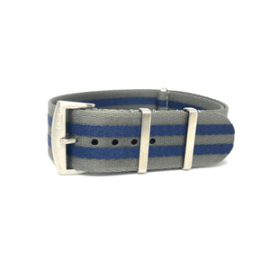 Premium Woven NATO Watch Strap - Grey & Blue Stripes - Nato Strap Store