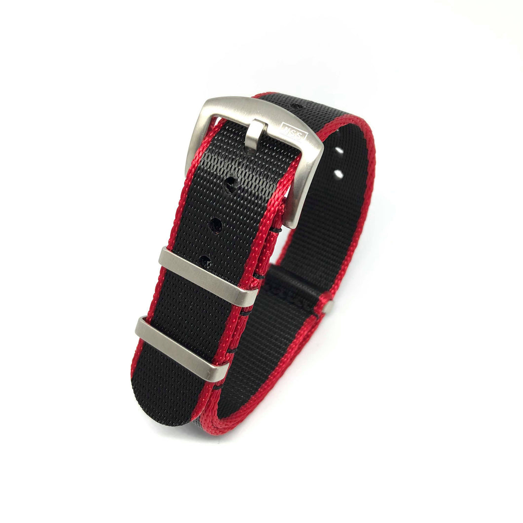 Premium Thick Woven NATO Watch Strap - Black & Red - Nato Strap Store