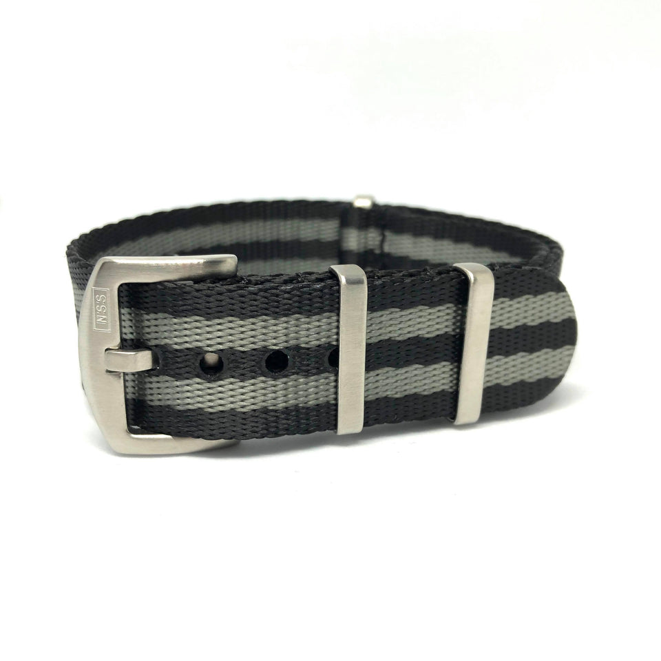 Premium Thick Woven NATO Watch Strap - Black & Grey Bond - Nato Strap Store