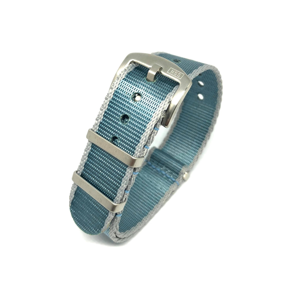 Premium Thick Woven NATO Watch Strap - Sky Blue & Grey - Nato Strap Store