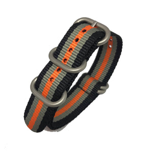 Zulu NATO Strap - Black, Grey & Orange - Silver Buckle