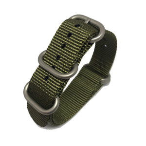 Zulu NATO Strap - Military Green - Silver Buckle