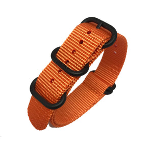 Zulu NATO Strap - Orange - Black Buckle