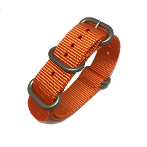 Zulu NATO Strap - Orange - Silver Buckle