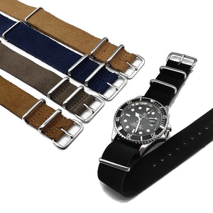 Leather NATO Strap - Grey