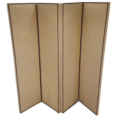 FOUR-PANEL FABRIC FOLDING SCREEN WITH NAILHEAD DETAIL - SHOWROOM SAMPLE