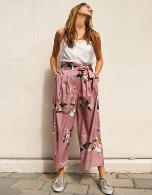 Tropicana Floral Trousers in Pink