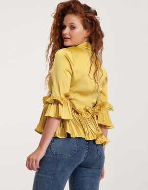 Satin Wrap Top in Yellow