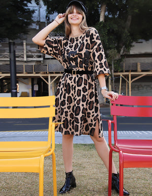 Leopard print T-Shirt Midi Dress
