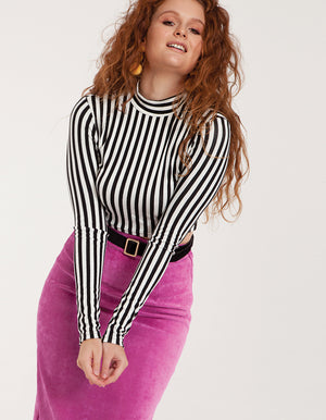High Neck Crop Top in Stripes