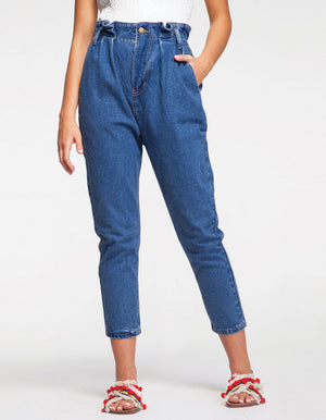 Paper Bag Waist Detail Jeans in Dark Blue Wash