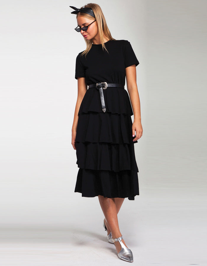 Layered Peplum Midi T Shirt Dress