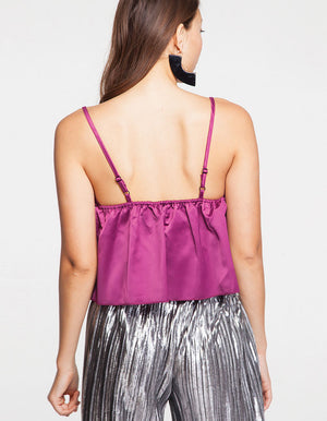 Satin V Neck Cami Top in Purple